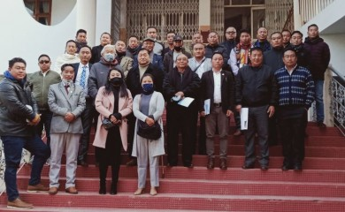 Dignitaries, CWA officials and other frontal organization officials during a consultative meeting on promotion of Naga wrestling in Kohima on January 14. (Morung photo)