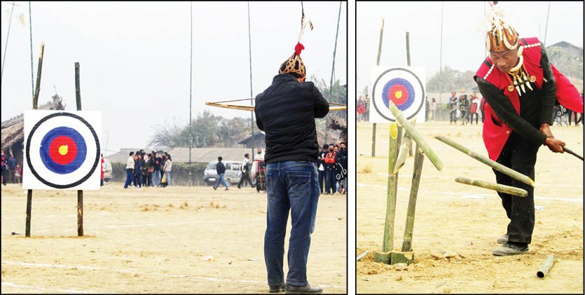 (Left) Cross bow shooting competition during the Poang Lüm cum Mini Hornbill Festival 2021 at Loyem Memorial Ground, Tuensang on January 12. (Right) Bamboo slashing competition in progress. (Morung Photos)