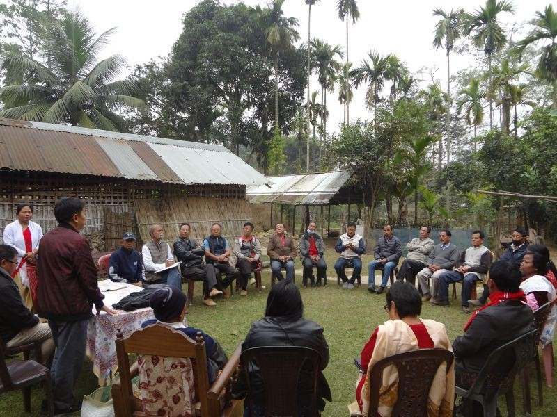 Members of Border Peace Coordination Committee (Assam-Nagaland) during its meeting held at Darikial Gaon, Nakachari under Jorhat district on January 11. (Photo Courtesy: BPCC-AN)