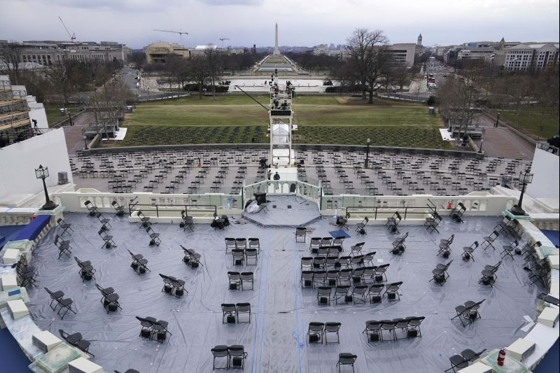 Preparations take place for President-elect Joe Biden's inauguration ceremony at the U.S. Capitol in Washington on January 16, 2021. (AP/PTI Photo)