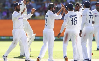 Brisbane:  India's Thangarasu Natarajan, second right, is congratulated by teammates after dismissing of Australia's Marnus Labuschagne during play on the first day of the fourth cricket test between India and Australia at the Gabba, Brisbane, Australia, Friday, Jan. 15, 2021. AP/PTI