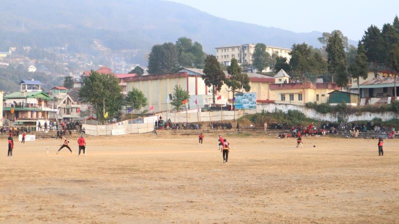 Players in action during a match at the 25th Winter Cricket Challenge in Wokha on January 14.