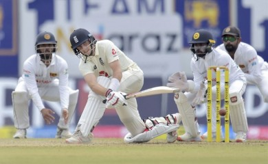 Galle: England captain Joe Root plays a sweep shot during the first test match between Sri Lanka and Engaland at Galle International Cricket Stadium in Galle, Friday, Jan. 15, 2021. (PTI Photo)