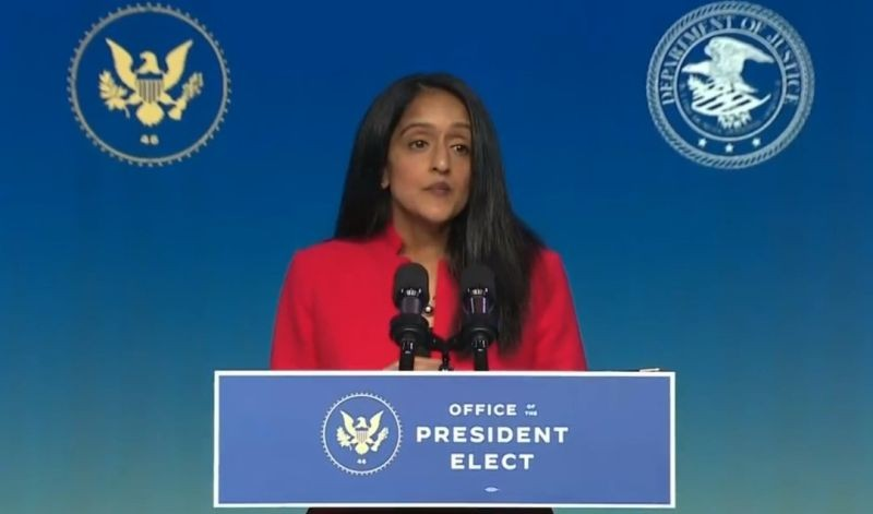 Vanita Gupta, who has been named by President-Elect Joe Biden to be the associate attorney general, speaks after the announcement on Thursday, January 7, 2021, in Delaware. (Photo: Biden Transition/IANS)