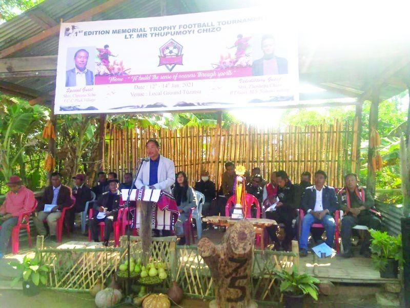 Chivozo Soho addressing the inaugural function of the 1st Late Thupumoyi Chizo Memorial Trophy 2021 on January 12.