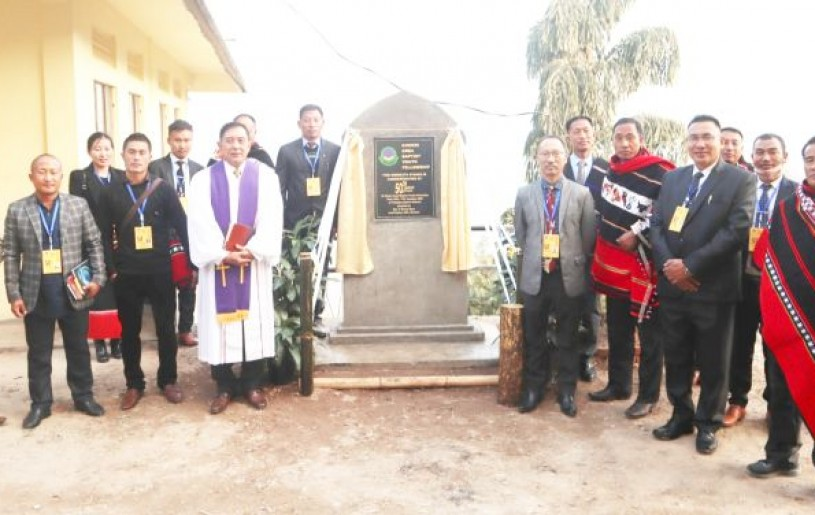 Rev P Bonny Resü, Lead Pastor, Chakhesang Baptist Church, Dimapur and others after unveiling the 50th anniversary monolith of Chokri Area Baptist Youth Fellowship at Thenyizu under Phek district on January 15. The 50th year celebration of CABYF concluded on January 17.