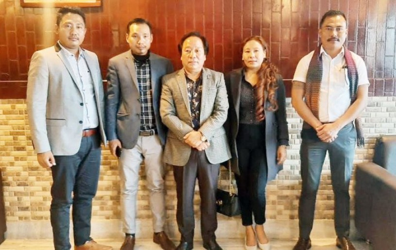 Director, National Scheduled Tribes Finance & Development Corporation, Johny G Rengma (centre), along with members of TICCI Nagaland Chapter at a press briefing in Dimapur on Friday.