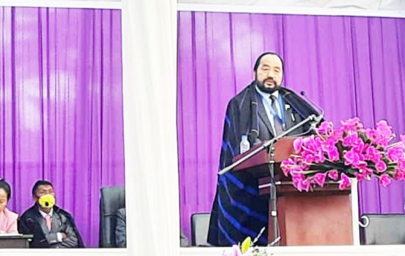 Nagaland Deputy CM, Y Patton speaking during the centennial jubilee celebrations of Old Changshu Baptist Church on January 17.