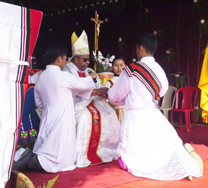 Reverend Deacon Peter Pehiachanglu (Right) being ordained as a priest for the Diocese of Kohima on January 15.