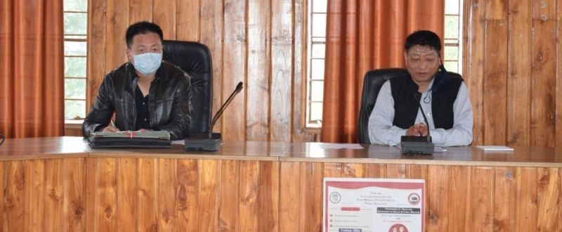 DC & Vice Chairman DPDB Peren, Sentiwapang Aier, NCS chairing the DPDB meeting held at DC's Conference Hall, District Hq Peren on January 12. (DIPR Photo)
