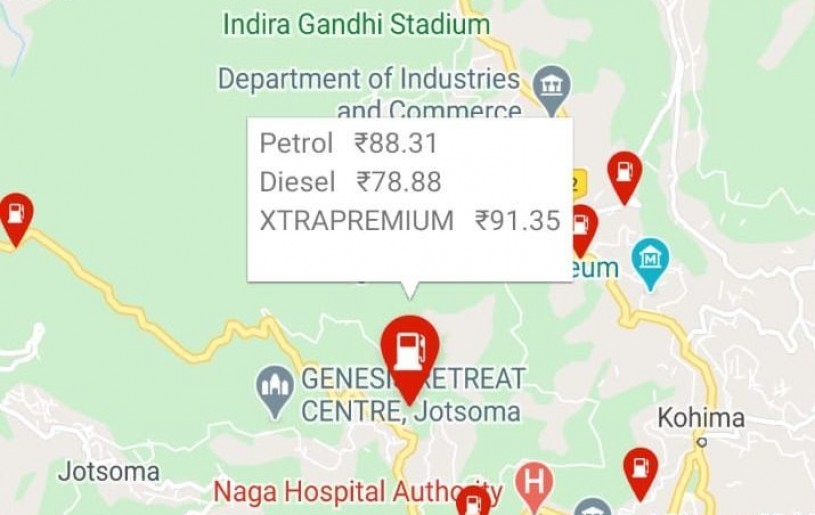 A screenshot of the IndianOil ONE app showing fuel prices in Kohima on January 18. The app is maintained by Indian Oil Corporation Ltd for fuel related needs. (Screenshot/Morung Photo)