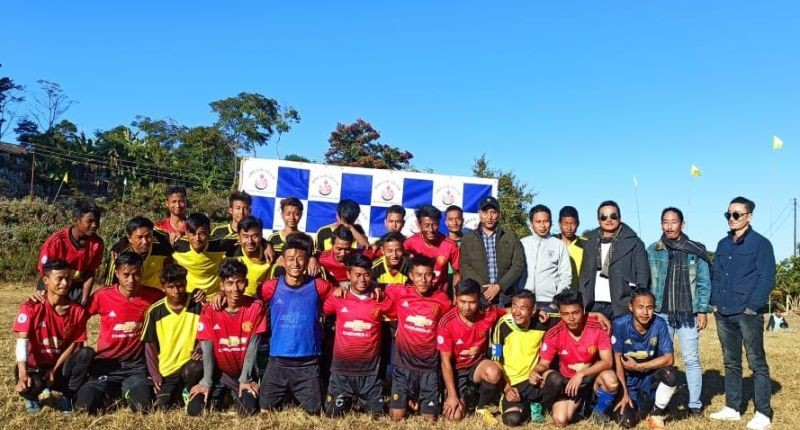 United Friends Club (red jersey) and Astute Brothers with guest of honour Vilelheto Khro before the final match at Tsiepama village.