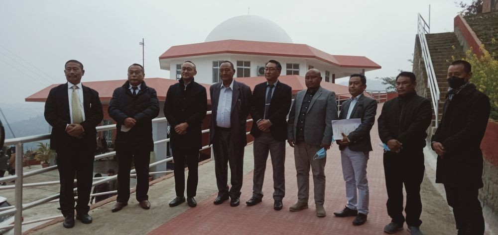 Neiba Kronu and Mmhonlumo Kikon with others during the inauguration of Planetarium and Innovation Hub   building in Kohima on January 16. (Morung Photo)