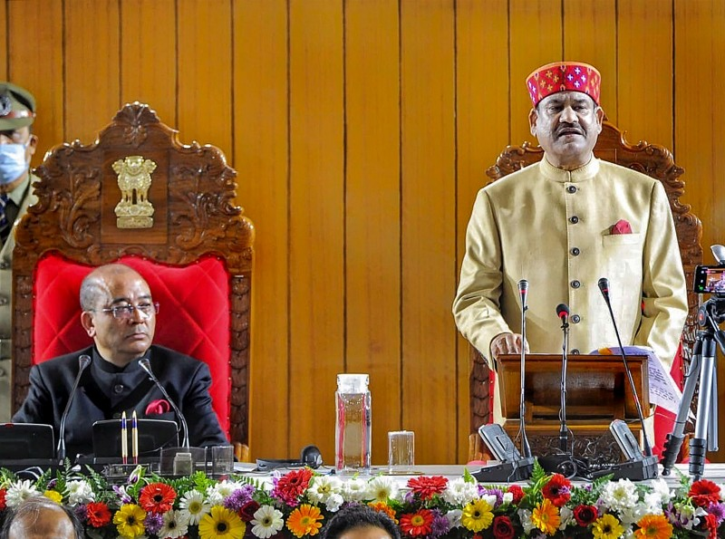Lok Sabha Speaker Om Birla during an interaction with Members of Meghalaya Legislative Assembly, in Shillong. (PTI Photo)