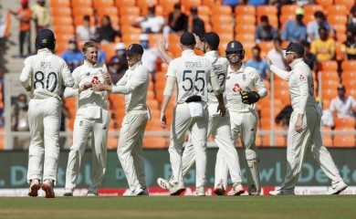 Ahmedabad: England skipper J Root with teammates celebrates after taking a wicket on the second day of the 3rd cricket test match between India and England, at Narendra Modi Stadium in Ahmedabad, Thursday, Feb. 25, 2021. (PTI Photo)