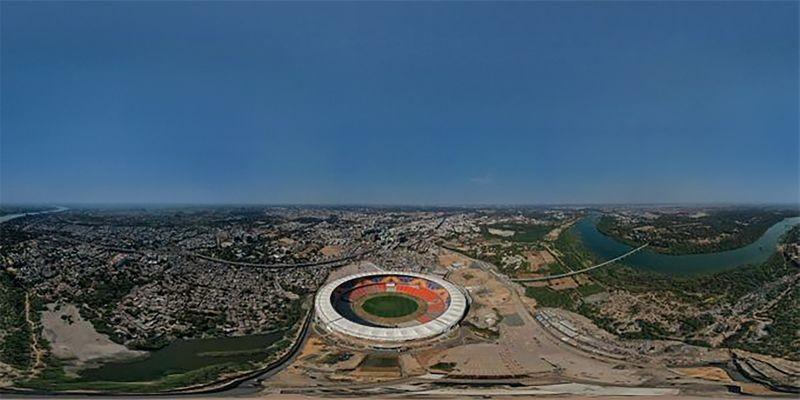 View of worlds largest cricket stadium, the Motera Stadium, in Ahmedabad. (PTI Photo)
