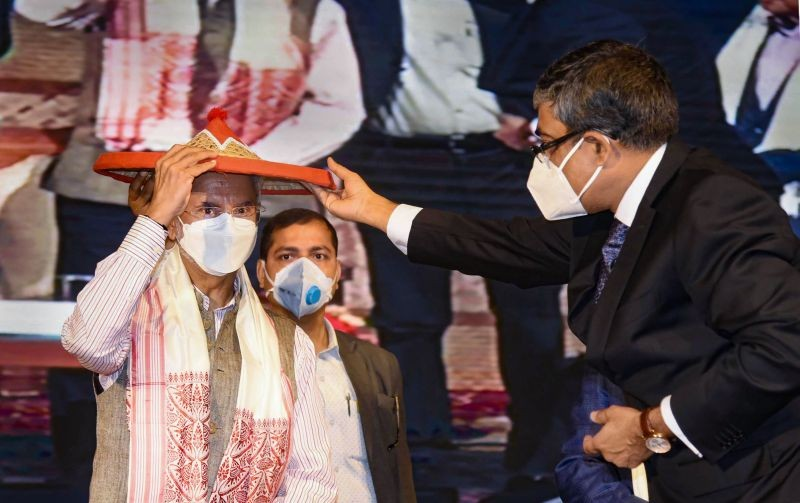External Affairs Minister S Jaishankar being presented with a traditional 'japi' during an event on Act East policy, in Guwahati on February 15. (PTI Photo)