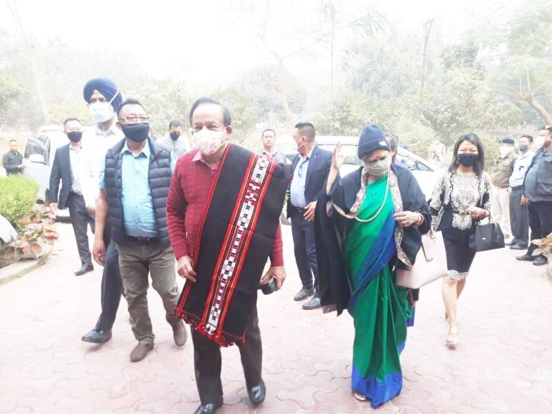 Union Home Minister, Dr Harsh Vardhan after his arrival in Dimapur on February 25.
