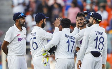 Ahmedabad: Indian team celebrates the dismissal of England's Joe Root on the second day of the 3rd cricket test match between India and England, at Narendra Modi Stadium in Ahmedabad, Thursday, Feb. 25, 2021. (PTI Photo)