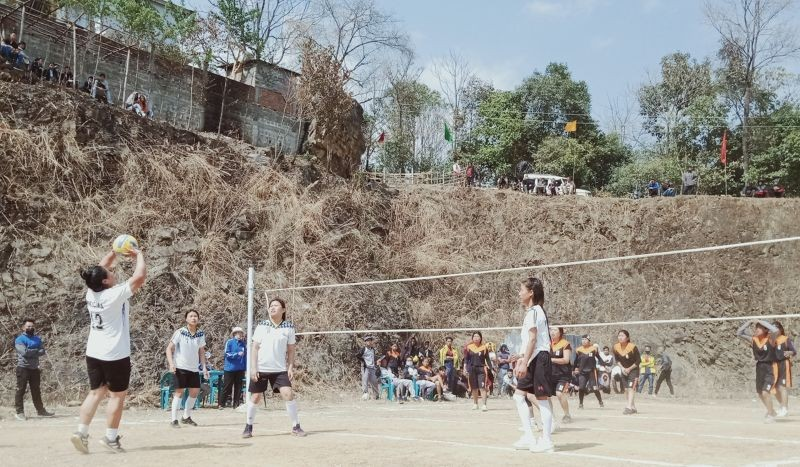A women's volleyball match between Phesama and Kezoma at Jakhama on February 22. (Morung Photo)