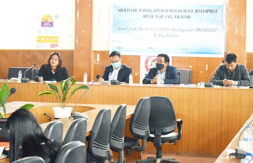 State Resource Person, SAU, Nagaland, Imlirenla Sanglir with Project Director, DRDA Wokha and other officials during the social audit held at DC Conference Hall, Wokha on March 6. (DIPR Photo)