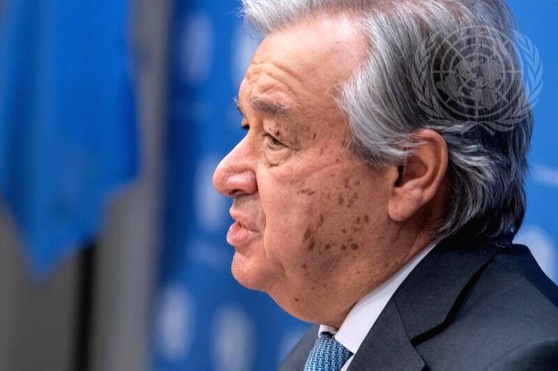 United Nations Secretary-General Antonio Guterres speaks to the media on  January 28, 2021, at the UN headquarters in New York. (UN/IANS File Photo)