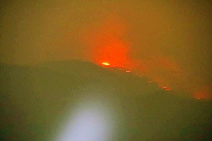 The forest fire at the famous Shirui peak was noticed in the wee hours of March 28. (IANS Photo)