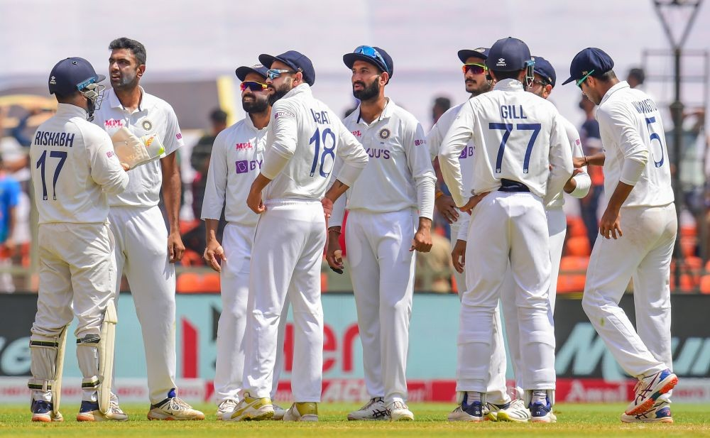 Ahmedabad: Indian cricketers celebrate the dismissal of a England batsman during the third day of the 4th and last cricket test match between India and England, at the Narendra Modi Stadium in Ahmedabad, Saturday, March 6, 2021. (PTI Photo/Kamal Kishore)(PTI03_06_2021_000051B)