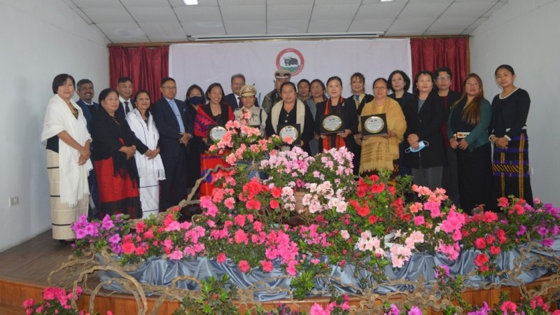 Recipients of the NSCW Award 2021 with Chief Secretary, J Alam, IAS; DGP, T John Longkumer, IPS, and senior government officials on the occasion of International Women's Day at Hotel Vivor, Kohima on March 8. (DIPR Photo)