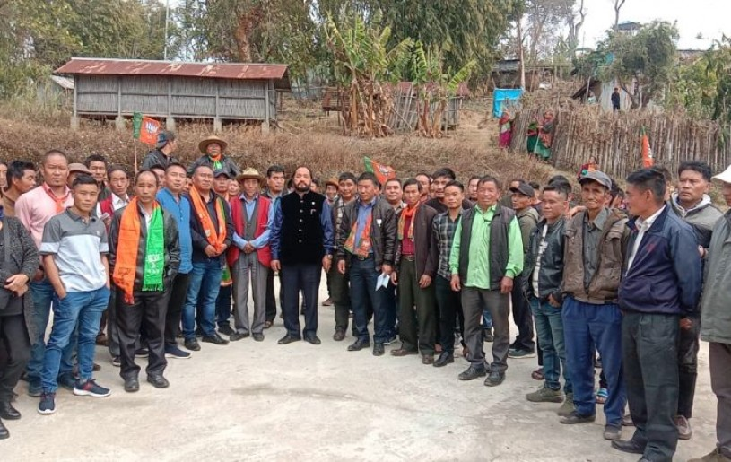 Patton with others during his constituency tour visited Nyiro range consisting of seven villages on March 8. (Photo Courtesy: Media Cell Dy CMO)