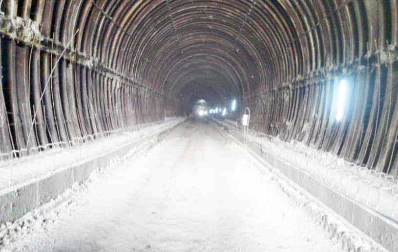 LIGHT AT THE END OF THE TUNNEL: Sunlight peers through the other end of the completed tunnel (No.3) near Kukidolong, which runs approximately 824m in this photo taken March 5.