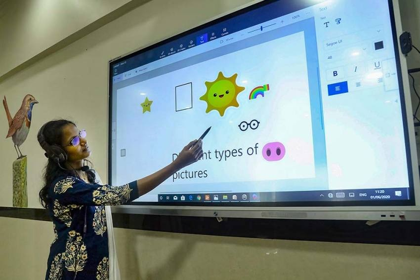 A teacher takes an online class for school students, in Kozhikode. (PTI File Photo)