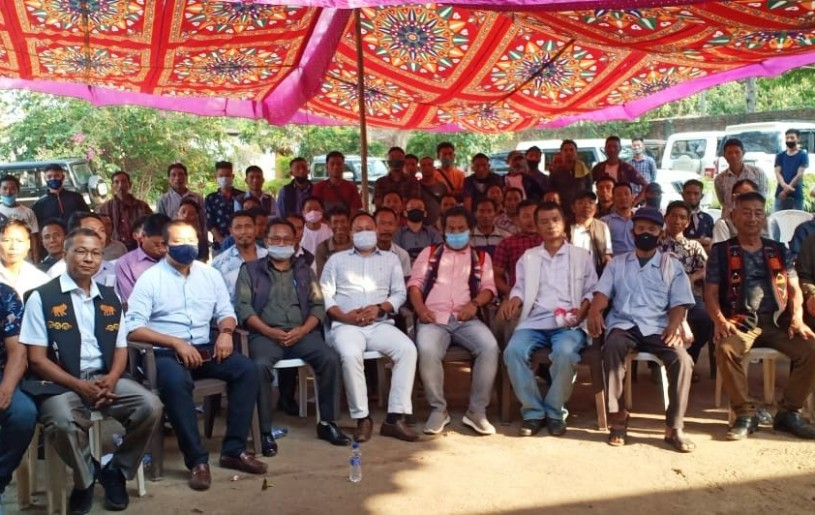 Officials and others during the NSCN (IM) Konyak Region, general meeting held at Region Treasury, 5th Mile, Dimapur on April 16.
