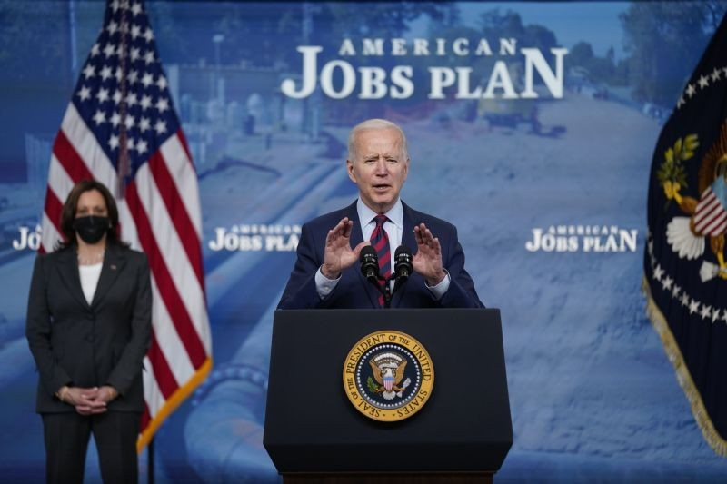 President Joe Biden speaks during an event on the American Jobs Plan in the South Court Auditorium on the White House campus on April 7, 2021, in Washington. Vice President Kamala Harris is a left. (AP/PTI Photo)