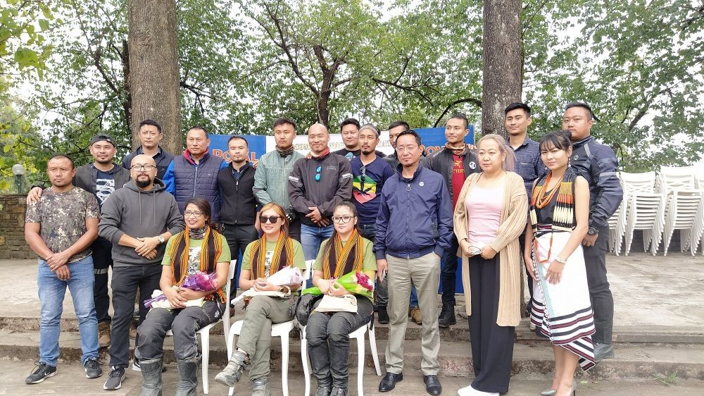 Three women bikers on a tour across the North East were felicitated in Kohima on April 8. (Morung Photo)