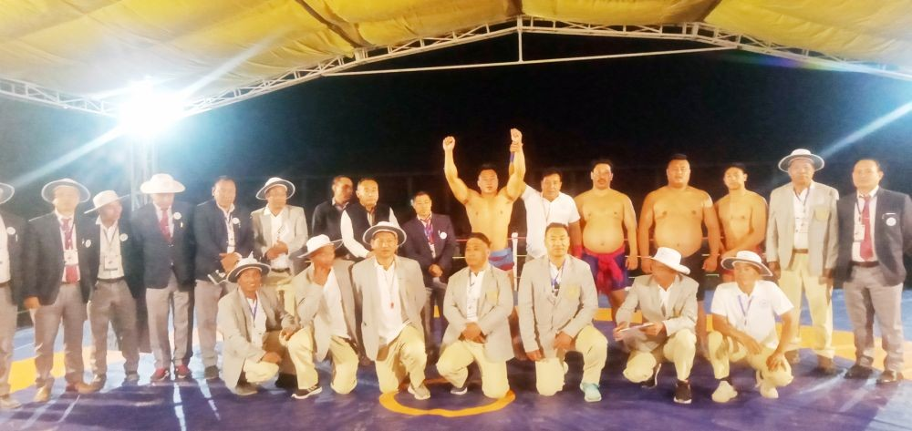 Ultimate Champion Venuzo Dawhuo (hands raised) and other competitors at the 13th Open Naga Wrestling Championship which was held in Kohima on April 9. (Morung Photo)