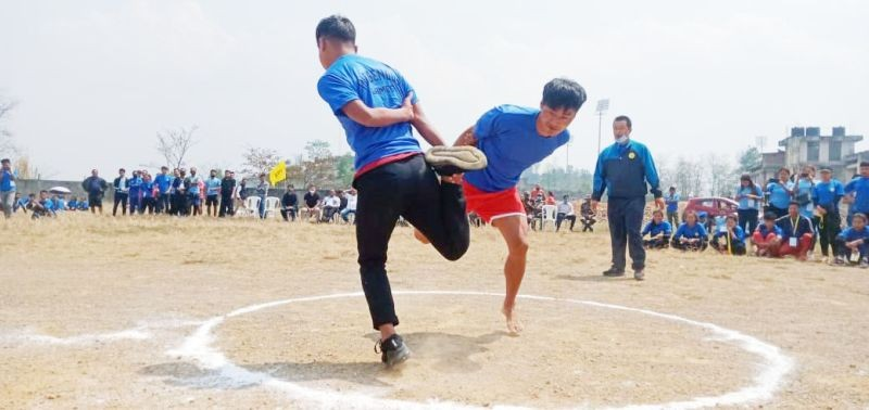 A cock fighting competition at the 2nd State level indigenous games competition which concluded on April 9.