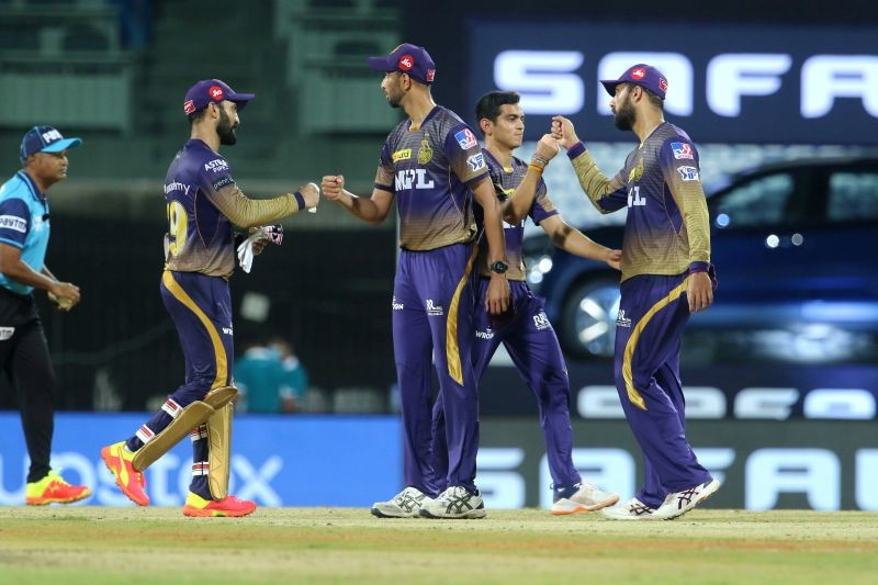 Kolkata Knight Riders players after  the match 3 of the Vivo Indian Premier League 2021 between Sunrisers Hyderabad and Kolkata Knight Riders held at the M. A. Chidambaram Stadium,in Chennai, Sunday, April 11, 2021. (PTI Photo)