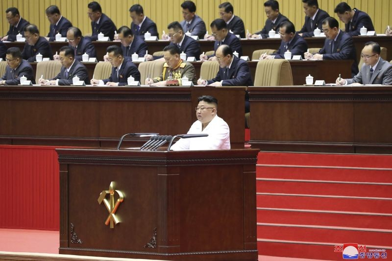 """In this photo provided by the North Korean government, North Korean leader Kim Jong Un delivers an opening speech at a conference of the Workers' Party's cell secretaries in Pyongyang, North Korea. Kim has acknowledged his country was facing the 'worst-ever situation' as he addressed thousands of grassroots members of his ruling party during the major political conference. Independent journalists were not given access to cover the event depicted in this image distributed by the North Korean government. The content of this image is as provided and cannot be independently verified. Korean language watermark on image as provided by source reads: """"KCNA"""" which is the abbreviation for Korean Central News Agency. (AP/PTI Photo)"""