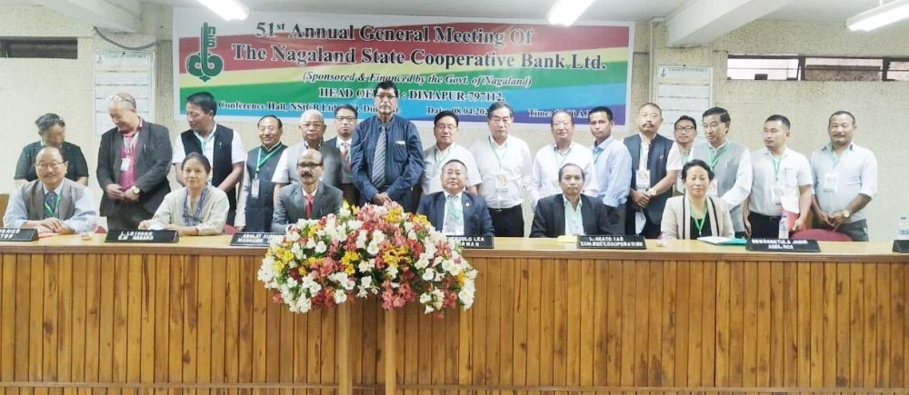 Officials from State department of Cooperation, Registrar of Cooperative Societies, NABARD, NStCB and board of directors at the 51st annual general meeting of NStCB held in Dimapur on April 8. (Morung Photo)