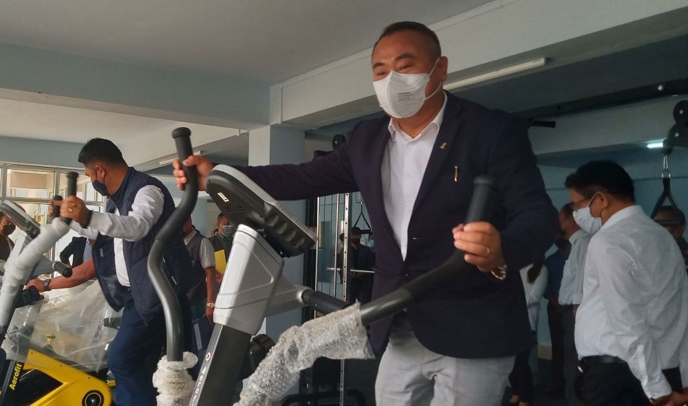 Minister Neiba Kronu and Advisor Er Zale Neikha at the gym in the newly inaugurated multi-purpose hall in the premises of the NLA Secretariat on April 29. (Morung Photo)