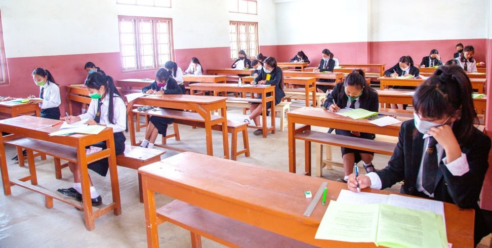 Students in Tuensang appearing the HSSLC exam which began on April 6. (Morung Photo by Moses Hongang)
