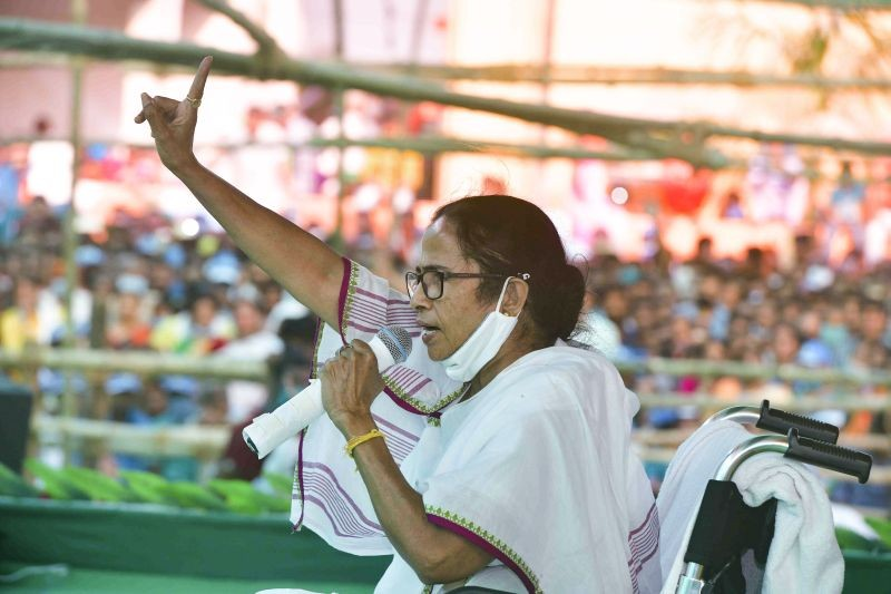 West Bengal CM and TMC supremo Mamata Banerjee addresses an election campaign rally for Assembly polls, at Sonarpur in South 24 Parganas on April 4, 2021.  (PTI Photo)