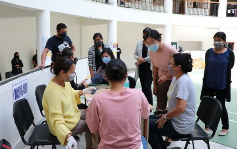 COVID-19 vaccination drive was held at the Directorate of Health & Family Welfare (DoHFW) on April 16 with an effort to effectively reach full vaccination coverage of a total of 163 HCWs/FLWs and Directorate staff. (Photo Courtesy: DoHFW)
