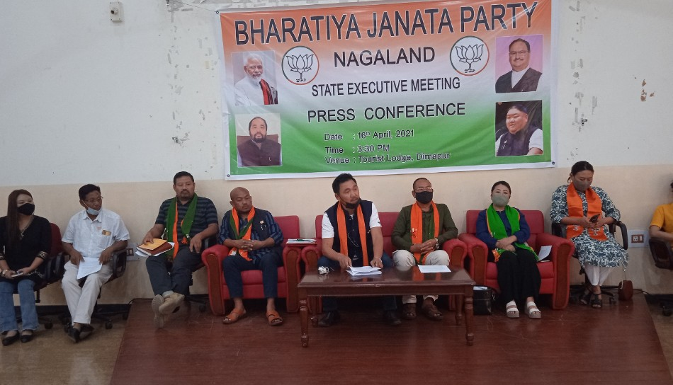 State BJP leaders addressing media persons in Dimapur on April 16. (Morung Photo)
