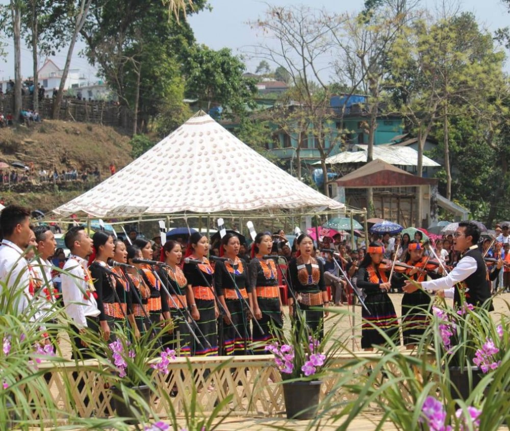 Mon Chamber Choir presenting welcome song during the Konyak Aoleang Festival celebration at Local Ground, Mon on April 6. (Photo Courtesy: Pona Temjen Phom)