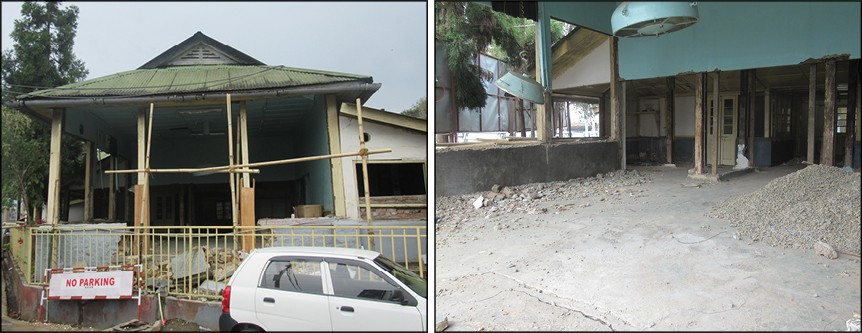 The old OT room in NHAK being dismantled for the construction of Accident and Trauma Center. (Morung Photo)
