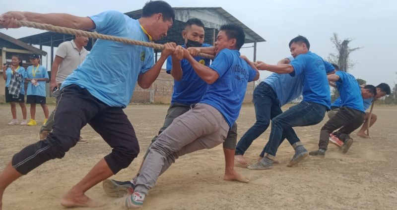 A tug of war match in progress at the 2nd State level indigenous games competition in Kohima on April 8.