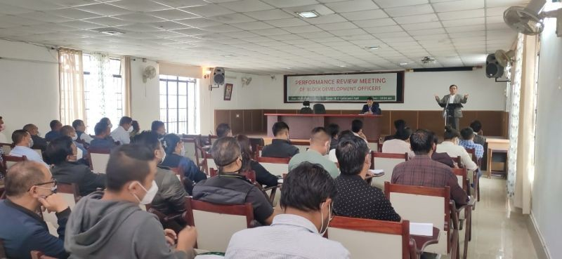 The performance review meeting of BDOs of the RD department underway in Kohima on April 8.