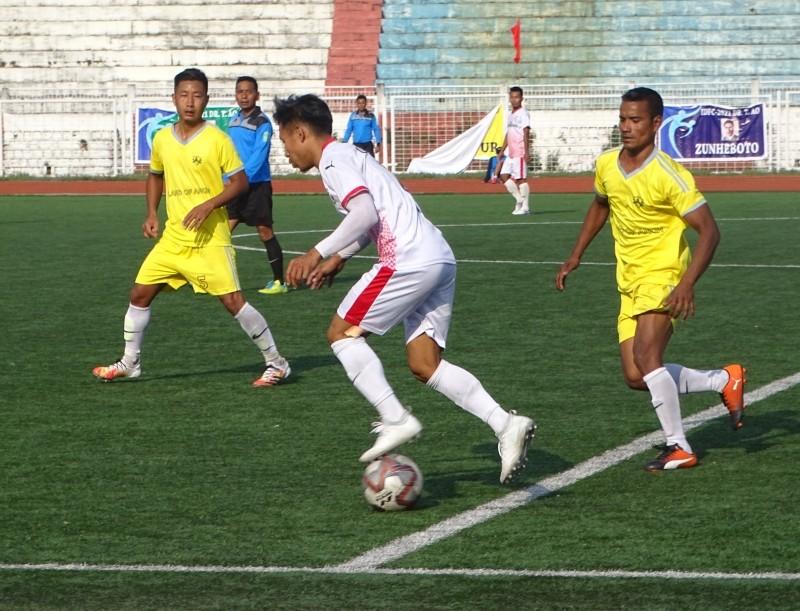 A match between Dimapur and Mon at Indira Gandhi Stadium, Kohima on April 13. (Morung Photo)
